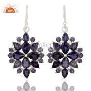 Genuine 925 Sterling Silver Iolite Gemstone Solitaire Dangle Earrings