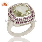 925 Sterling Silver Green Amethyst and Amethyst Gemstone Statement Ring