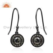 White Topaz Hematite Gemstone Black Rhodium Silver Earrings Wholesale