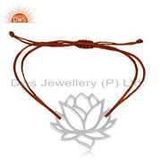 Designer Lotus Flower 925 Sterling Silver Red Cord Adjutable Bracelet Supplier