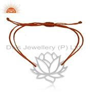 Adjustable Orange Cord Lotus Flower 925 Sterling Silver Bracelet Wholesale