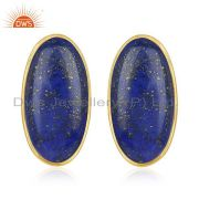 Natural Lapis Lazuli Gemstone Gold Plated 925 Silver Stud Earring Wholesale