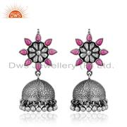 Traditional Hydro Pink Gemstone Silver Oxidized Jhumka Earring Jewelry