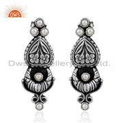 Natural Pearl oxidized Silver Floral Designer Earrings Jewelry