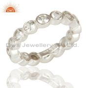 Handmade Solid 925 Sterling Silver White Topaz Round Eternity Band Ring