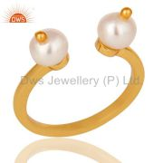 Beautiful White Pearl Bead and Sterling Silver Gold Plated Open Ring