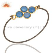 18k Gold Plated & Black Oxidized Sterling Silver Fashion Dyed Chalcedony Bangle