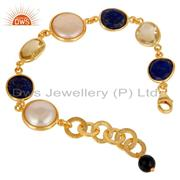 Water Pearl, Lapis, Lemon Topaz & Black Onyx Bracelet with 18k Gold Plated