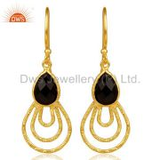 Black Onyx Hammered Drop Dangle 14K Gold Plated 92.5 Sterling Silver Earring
