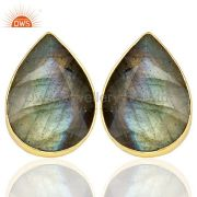 Natural Labrodorite Pear Shape Flat Back Gold Plated Stud Earring In Silver