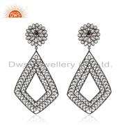 Black Rhodium Plated 925 Silver Zircon Gemstone Earrings For Womens