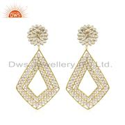 Womens Designer Gold Plated Silver CZ Gemstone Earrings Jewelry