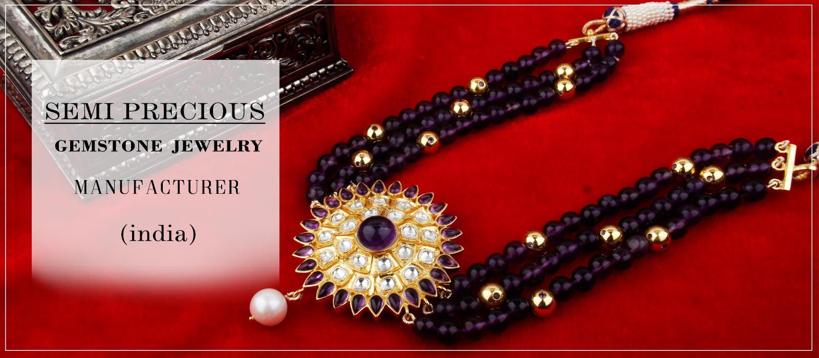 Wholesale semi precious gemstone beads jewelry manufacturer in India