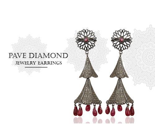 pave diamond wedding jewelry manufacturer india, pave diamond party wear jewelry supplier jaipur, pave diamond jewellery manufacturers Jaipur