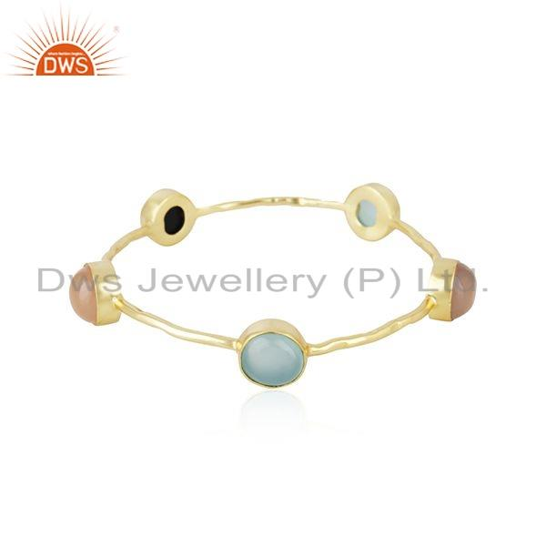Multi Gemstone 18k Gold Plated Brass Fashion Designer Bangle Jewelry