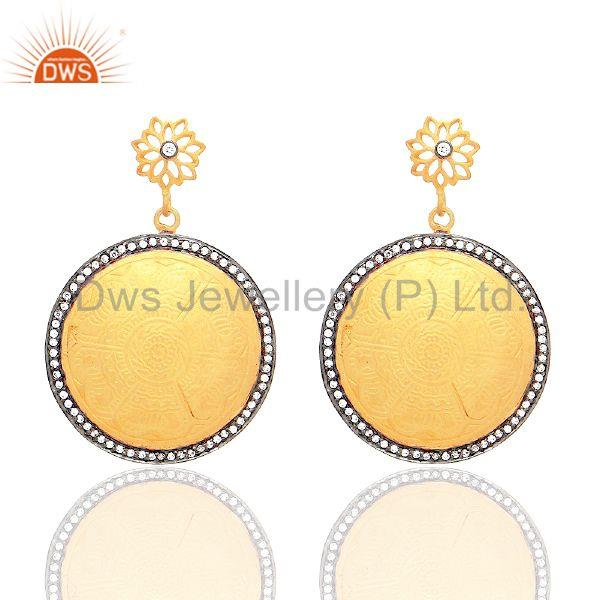 18K Yellow Gold Plated Sterling Silver Cubic Zirconia Designer Disc Earrings