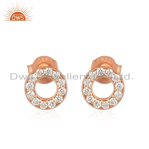 Zircon Gemstone Rose Gold Plated Silver Round Stud Earrings Jewelry