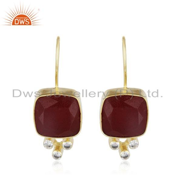 24K Yellow Gold Plated Brass Red Aventurine And CZ Designer Dangle Earrings