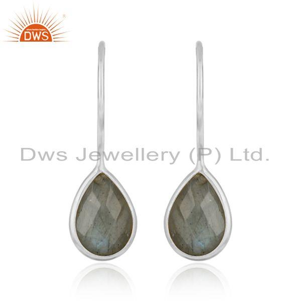 Natural Labradorite Gemstone Designer Sterling Silver Hook Earrings