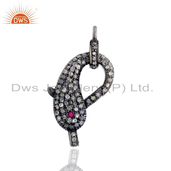 Pave Diamond Ruby 925 Sterling Silver Dolphin Style Lobster Clasp Lock Finding