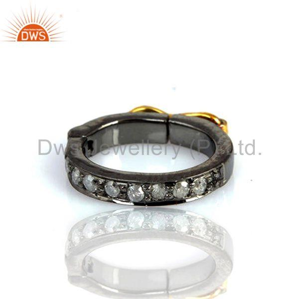 18kt Gold Rondelles 0.12ct Diamond Spacer Finding 925 Sterling Silver Jewelry