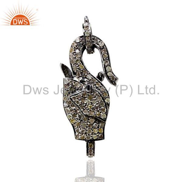 Pave Diamond Clasp ELEPHANT Pendant Sterling Silver Lock Finding Fine Jewelry QY