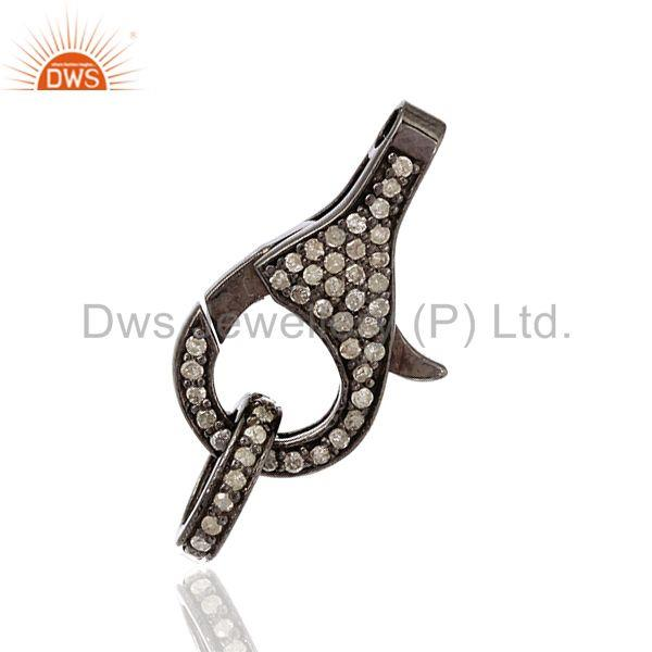 0.54 ct Pave Diamond .925 Sterling Silver Clasp Lock Connector Finding Jewelry
