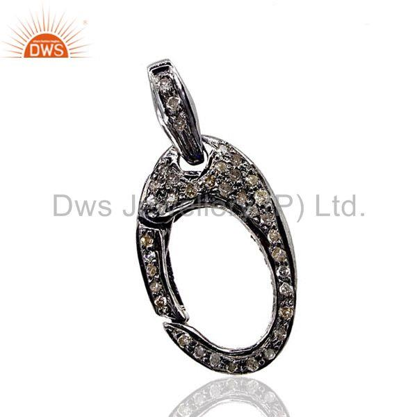 925 Sterling Silver Finding Pave Diamond Lobster Clasp Jewelry 27x13 mm CY