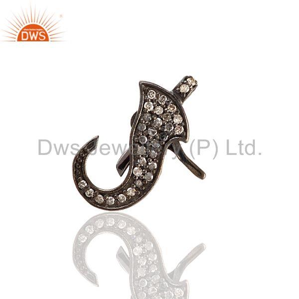 0.43ct Pave Diamond Clasp Spacer Finding 925 Sterling Silver Handmade Jewelry