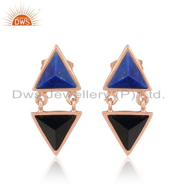 Black Onyx Lapis Lazuli Rose Gold Plated Silver Stud Earrings Jewelry