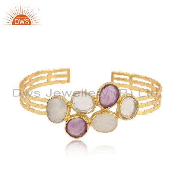 Rainbow Moonstone Amethyst Gemstone Gold Plated Silver Cuff Bangle