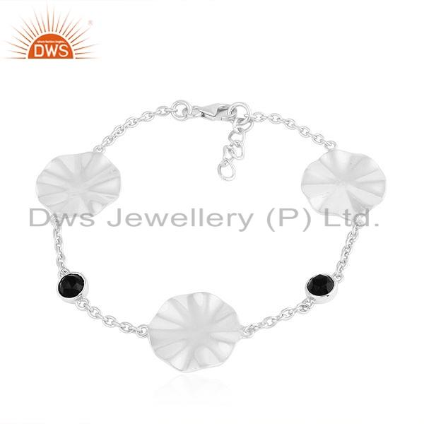 Sterling Silver Natural Black Onyx Gemstone Wavy Disc Bracelet Jewelry