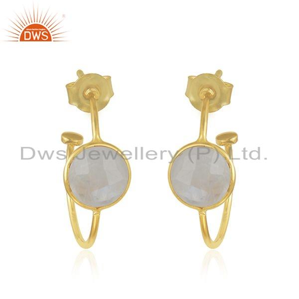Womens 18k Gold Plated Designer 925 Silver Rainbow Moonstone Earrings