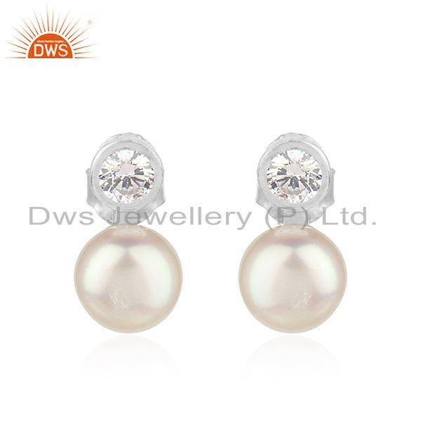 Natural Pearl Zircon Round Silver White Rhodium Plated Stud Earrings