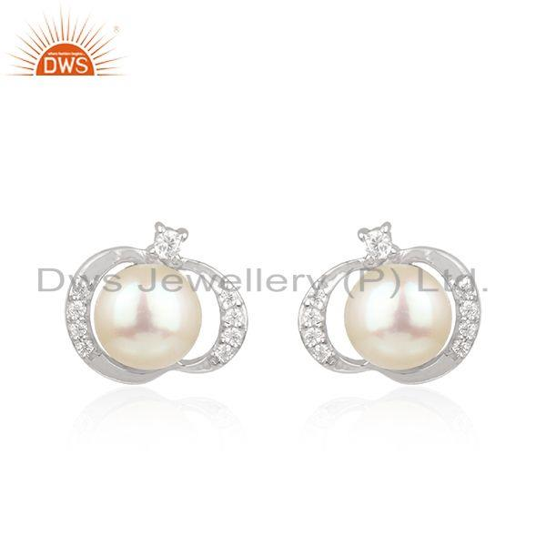 CZ Pearl Gemstone Handamde White Rhodium Plated Silver Stud Earrings