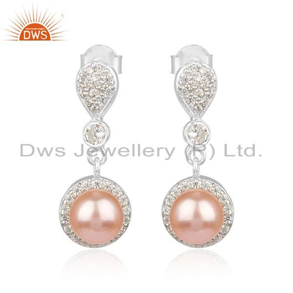 CZ Gray Pearl White Rhodium Plated Silver Dangle Drop Earrings Jewelry