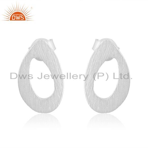 Oval Shape White Rhodium Plated Plain Silver Stud Earrings Jewelry