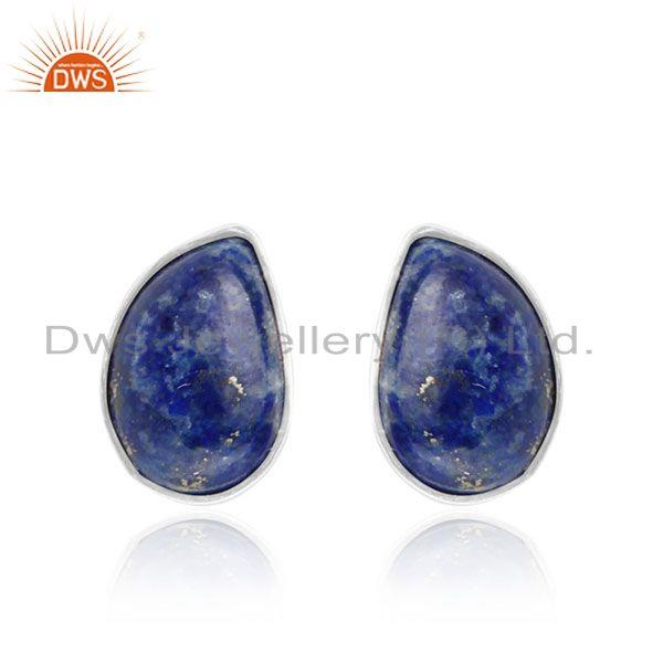 Natural Lapis Lazuli Designer 925 Fine Silver Stud Earrings Jewelry