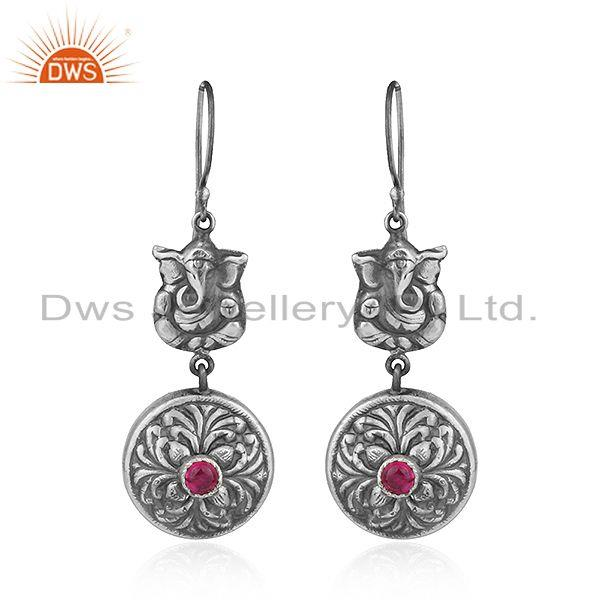 Pink Hydro Gemstone Oxidized 925 Silver Lord Ganesha Earrings Jewelry