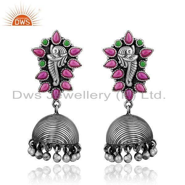 Peacock Design Oxidized Silver Multi Hydro Gemstone Jhumka Earrings