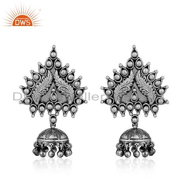Temple Design Oxidized Sterling Silver Jhumka Earrings Jewelry