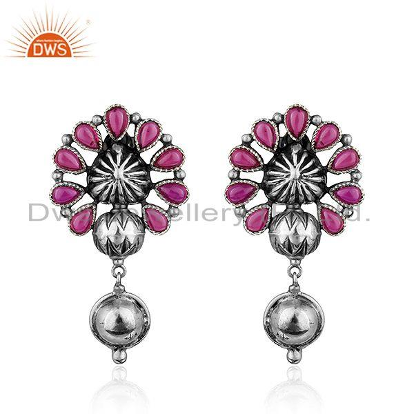 Floral Shape Oxidized 925 Sterling Silver Hydro Pink Gemstone Earrings