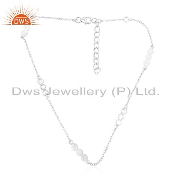 Trendy 925 Sterling Silver Womens Handmade Chain Necklace Jewelry