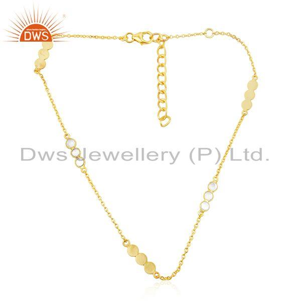 CZ Gemstone New 18k Gold Plated 925 Sterling Silver Necklace Jewelry