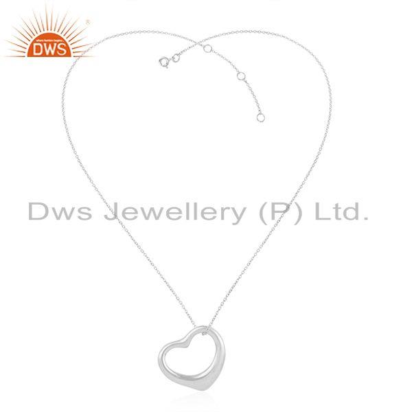 Open Heart 925 Sterling Silver White Rhodium Pendants