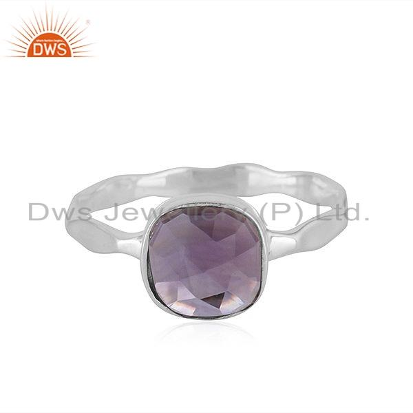 Natural Amethyst Gemstone Sterling Fine Silver Designer Ring Jewelry