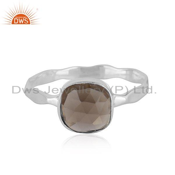 New Look Sterling Fine Silver Smoky Quartz Gemstone Ring Jewelry
