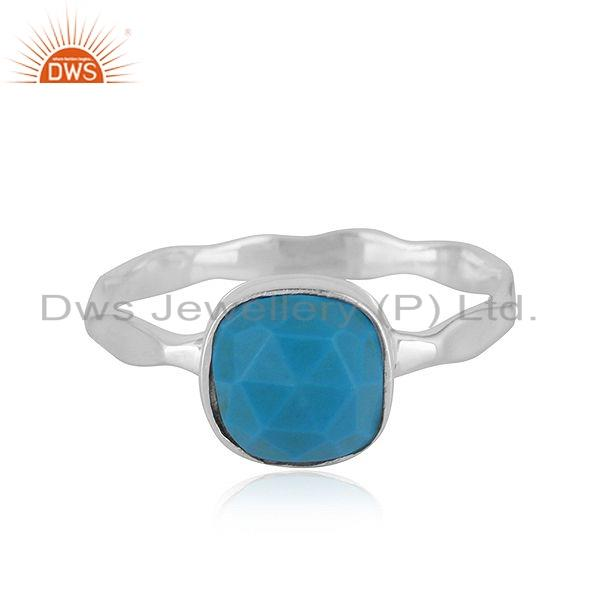 925 Sterling Fine Silver Natural Turquoise Gemstone Girls Ring Jewelry