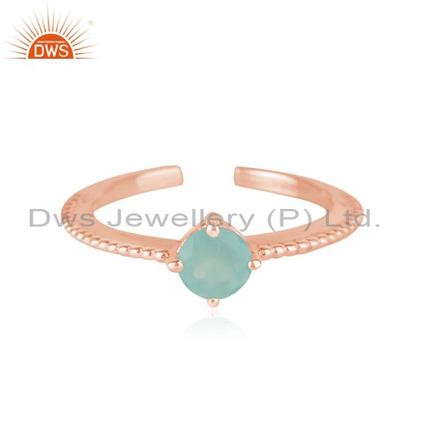 Handmade Design Rose Gold Plated Silver Aqua Chalcedony Gemstone Rings