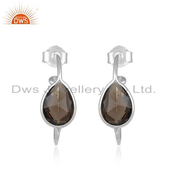 Indian Handmade 925 Fine Silver Smoky Quartz Gemstone Hoop Earrings